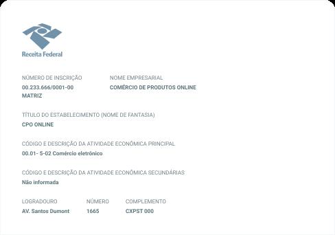 Imagem do Cartão do CNPJ da Receita Federal