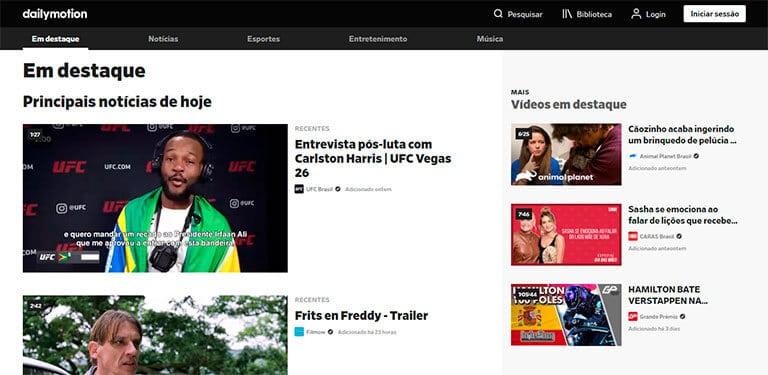 página inicial do dailymotion