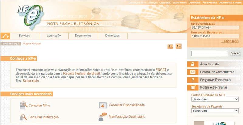 portal online da nota fiscal eletrônica