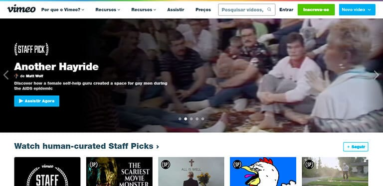 página inicial do vimeo