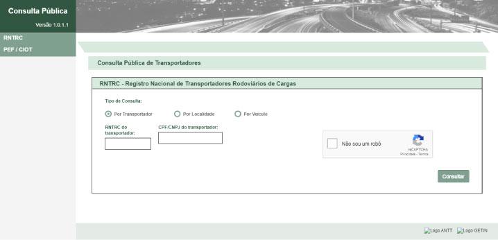 sistema de consulta pública de transportadores