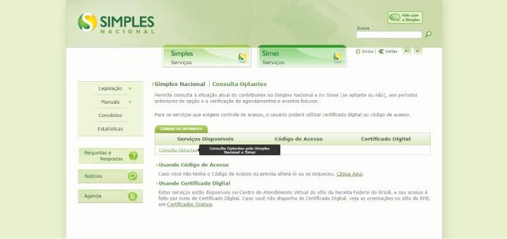 página para entrar no sistema de consulta do Simples Nacional