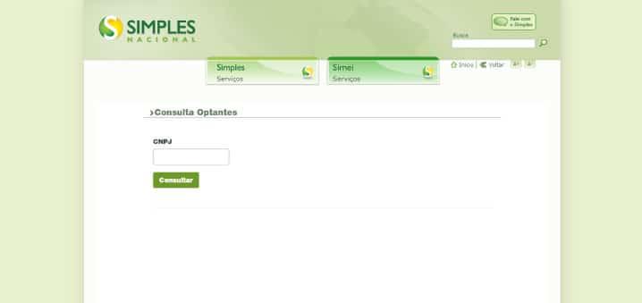 página de consulta de optante pelo Simples Nacional