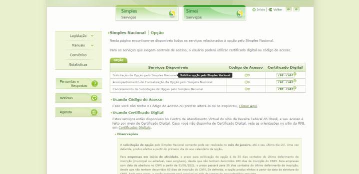 página de solicitação de opção do portal do Simples Nacional