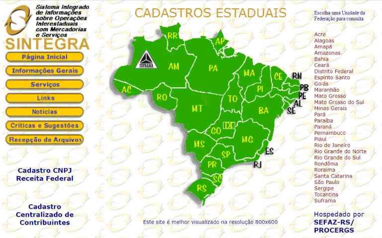 portal online do SINTEGRA